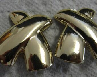 Goldtone X Clip Earrings