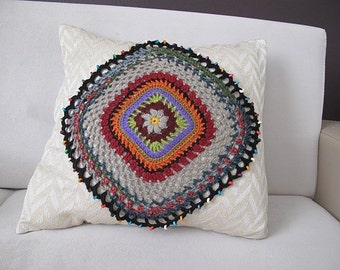 Crochet pillow cover,  square motif Pillow cover 18x18 inc . Living room pillow cover, decorative pillow, home decor, decorative pillows