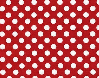 Sale Fabric, Red and White Dot, Spot on Polka Dot fabric, Quilt fabric, Cotton Fabric by the Yard, Robert Kaufman, Choose your cut