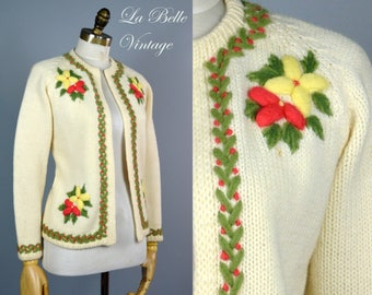 Vintage 60s Floral Embroidered Cardigan ~ Vic & Vic Haute Couture Wool Sweater