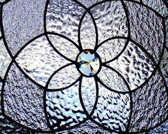 Stained Glass Clear Textures Geometric Star Mandala Suncatcher Panel
