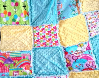Toddler Rag Quilt, Girl, Castle, Rainbow, Butterflies, Pony, Yellow, Blue, Pink, Green, Flannel, Ready to Ship