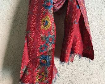 Vintage sari kantha shawl