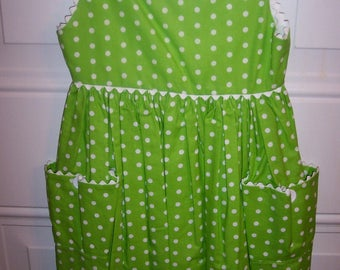 POLKA DOT SUNDRESS-Lime Green & White-Lined Bodice-Poof Pockets-Washable-Easy Care-Partial Open Back-Sizes 3-5-New
