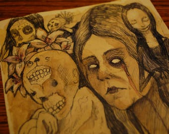She wept for her dead ones Original Drawing