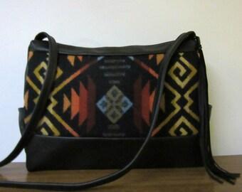 Cross Body Bag Shoulder Bag Black Leather Blanket Wool from Pendleton Oregon Southwest Style