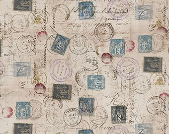 Tim Holtz CORRESPONDENCE Taupe PWTH021 Fabric - Cuts by HALF Yard Increments