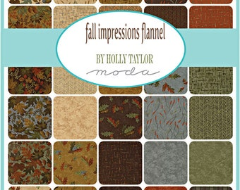 """SQ53 Moda Fall Impressions Flannel Precut 5"""" Charm Pack Fabric Quilting Cotton Squares Holly Taylor 6700PPF"""