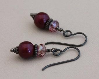 Black Niobium earrings Swarovski Blackberry and Lilac Shadow
