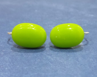 Lime Green Clip on Earrings, Post Clip On Earrings, Non Pierced Earings, Lime Green Jewelry, Fused Glass - Gracey --5