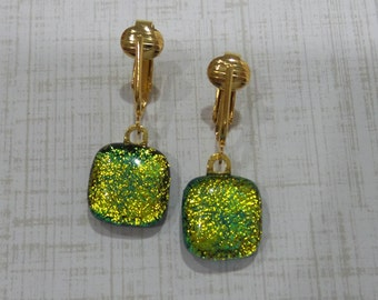 Yellow Dichroic Clip On Earrings, Dangle Clip Earring, Yellow Gold Fused Glass Jewelry, DIchroic Jewelry, Ready to Ship - Always Shimmer -6