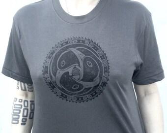 Celtic Triple Raven Crow Bird Gothic Pagan Unisex Grey T-Shirt S M XL