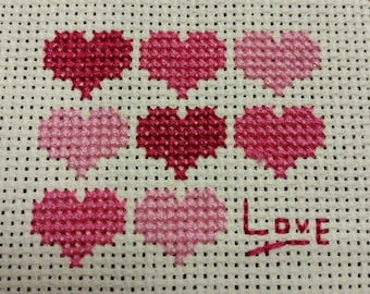 """Heart Patterned """"Love"""" Unmounted Cross Stitch"""