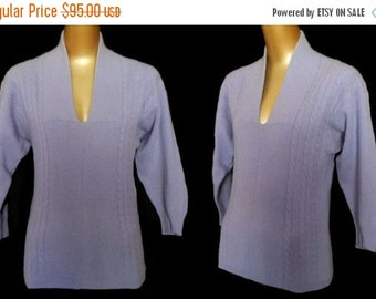 MOVING SALE Vintage 50s Cashmere Sweater, 1950s Lavender Purple Pullover Cable Knit Sweater by Bernhard Altmann, Size S Small