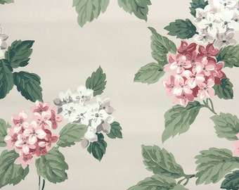 1950s Vintage Wallpaper by the Yard - Pink and White Hydrangea Blossoms