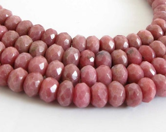 6x4mm Rhodonite Beads, Full Strand 6mm Faceted Rhodonite Beads, Rondelle Rhodonite Beads, Faceted Rondelle, Pink Gemstone Beads, Rho216