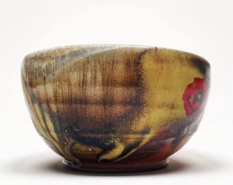 wood fired bowl with poppies