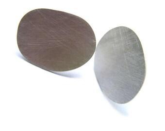 Oval earrings in reclaimed sterling, minimal jewelry.