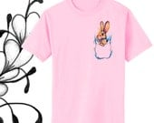 Bunny in Pocket Watercolor Art Print T-Shirt Youth and Adult Sizes