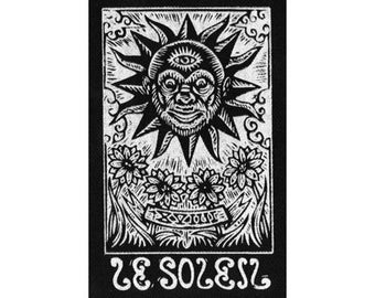 Sun Patch - Tarot Card Sew On Punk Patch - Sun Tarot Screen Print on Fabric - Punk Patch - Tarot Major Arcana -  Le Soleil Tarot Card Patch