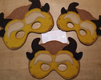 Beast inspired felt mask for dress up or Halloween Costume Pretend Play Imagination Education party favor