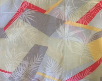 Vintage 70's Cotton Fabric, Printed Abstract Tropical 2.5 yards