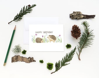 Hedgehogs Birthday Card / Birthday Card / Girls Birthday Card / Hedgehogs Card / Gifts for Her / Happy Birthday Card / Baby Hedgehog Card