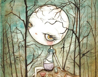 Full Moon Art Print Wall Art --- FOOD forest Art
