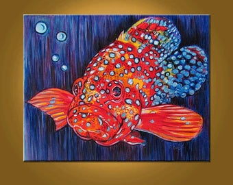 Coral Grouper -- 16 x 20 inch Original Oil Painting by Elizabeth Graf on Etsy -- Art Painting, Art & Collectibles