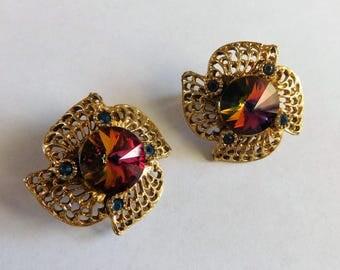 Watermelon Rivoli Earrings Costume Jewelry Clip on Style Vintage Estate Jewels