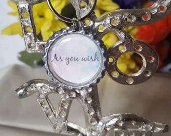 ONE 'As You Wish' Bottle Cap Charm Keychain