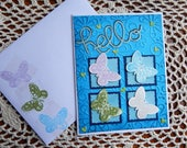 Handmade Thinking of You Card: butterfly, blue, yellow, greeting card, card, complete card, handmade, balsampondsdesign