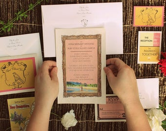 pkg 50 wes anderson fan style The ROYAL MOONRISE wedding invitations reception response cards thank you envelopes maps retro FREE Shipping!!