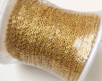 300ft spool of Gold Plated very Flat Soldered Cable Chain 2x1.5mm, bulk gold chain