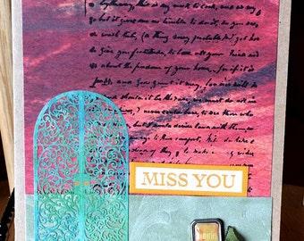 Card Stamped Miss You - kitsnbitscraps