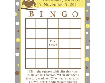 24 Personalized Baby Shower Bingo Cards - Baby Owl Baby Shower- Gray and Yellows  - Neutral Colors