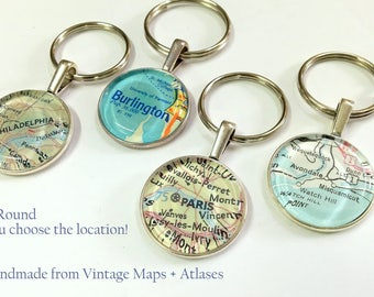 Vintage Map Keychain- you choose the location - personalized custom gift- great for Graduation // Fathers Day // Mothers Day // Sixteenth