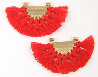 Red Tassel Earrings Findings Boho Red Fringe Gold Half Circle Fan Pendant Bohemian Jewelry Supply Chandelier Components Trendy |R6-12|2