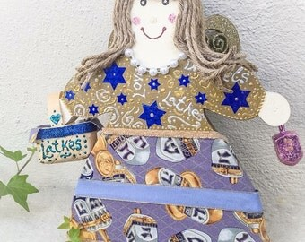 Chanukah Decor Ideas - Judaica Chanukah FAIRY - Jewish Holiday Figurine, Chanukah Gift Idea -Jewish Mantle Decor - Table Centerpiece