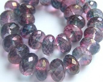 Stunning 3.5 Inches of Rare Large Mystic Wartermelon Bio Quartz 6.5mm - 9mm Gemstone Beads Rondelle