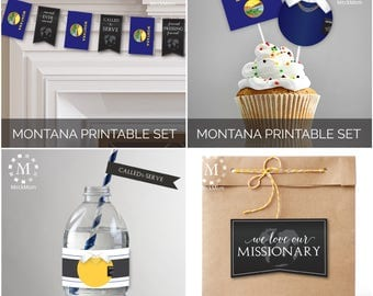 INSTANT DOWNLOAD - MONTANA -  Missionary Farewell Welcome Home Decoration Printable Set for Sisters
