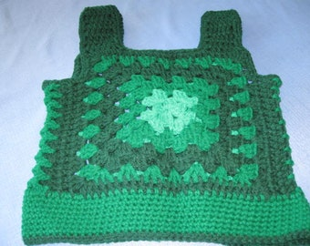 Vintage Retro Crochet VEST Green Grannie Square Handmade  Size Small   28 Inches Around and 17 Inches from top of Shoulder to Bottom