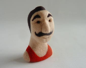 Minature needle felted head, 'Mr George', vintage circus strong man, by Gretel Parker