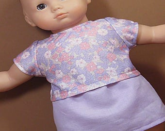 Bitty Baby or Bitty Twin Doll Clothes - Lavender Skirt with Lavender and Pink Flowered Tee