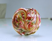 Glass Lampwork Focal Bead  Pink  Ivory Green Purple Victorian Roses