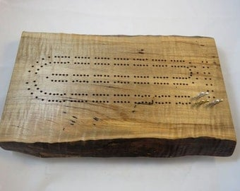 Rustic Curly Maple Cribbage Board with Live Edge C13 Best Christmas Gift 2016