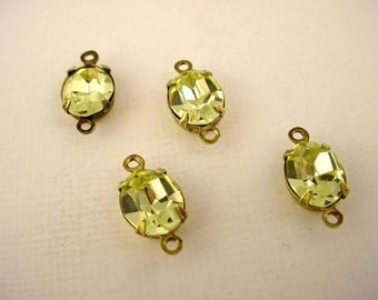 4 Vintage  jonquil Swarovski yellow Faceted Oval Glass Stone Charms 10x8 2 Ring brass ox setting connector
