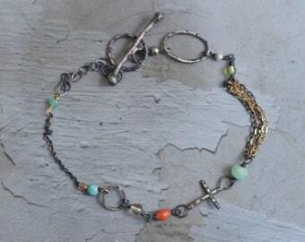 Sterling Silver Linked Cross Bracelet - Rustic Cross Bracelet - Mixed Metal Bracelet - Dainty Bracelet - Mixed Stone Bracelet