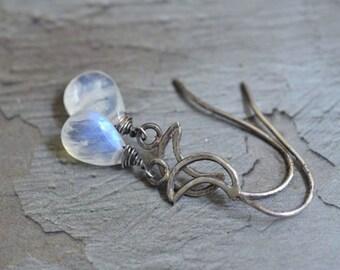Sterling Silver Moon Earrings - Rainbow Moonstone Earrings - Metalwork Earrings  - Simple Earrings - Crescent Moon Earrings