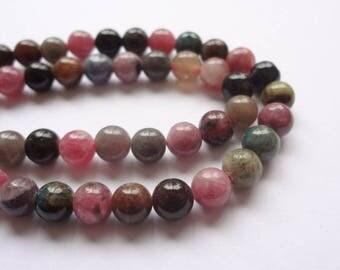 6mm Round Multi-Color Tourmaline Semi Precious Gemstone Beads - Half Strand